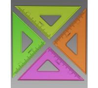 Треугольник 9см, 45° флуоресцентный прозрачный 4 цвета