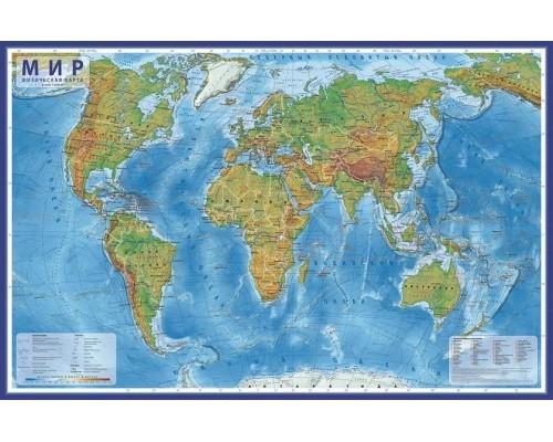 Карта Мир Физический 1:29М 101х66 (с ламинацией) в тубусе КН039