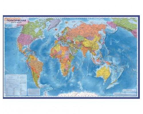 Карта Мир Политический 1:28М 118х80 КН044