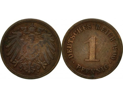 БЕЗ СКИДКИ Монета 1 пфенинг Кайзеровская Германия