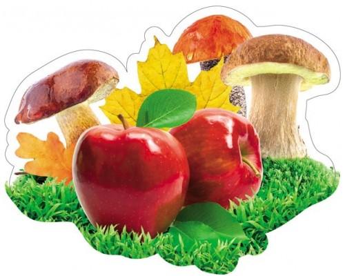 Декоративный элемент Яблоко красное+грибы+листья