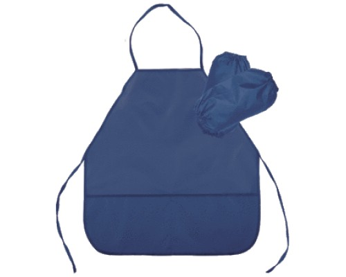 Фартук deVENTE 45x54 см (M), с нарукавниками, однотонный синий