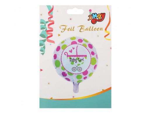 Воздушный шар фольгированный 43см Baby girl КОКОС 184672