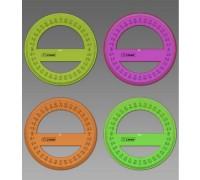 Транспортир 10см, 360° флуоресцентый 4 цвета